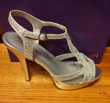 MADDEN GIRL LOOPYY WOMEN'S HEELS IN SPARKLING SILVER - SIZE 8.5 M - NEW IN BOX
