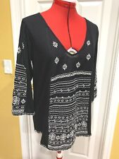 LUCKY BRAND Black Cotton Knit 3/4 Sleeve Boho Top, White Embroidery, Medium