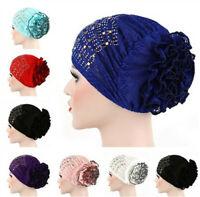 Muslim Women Rhinestone Chemo Cap Flower Turban Hat Islamic Head Scarf Wrap Arab