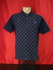 """Fred Perry Mens S Small Polo Shirt Black Short Sleeves Argyle 19"""""""