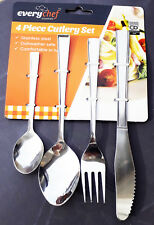 Set of 4 Cutlery Spoons, Knife and Fork Flatware Dinnerware Picnic Camping UK