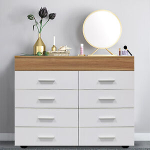 Modern White Chest of Drawers Sideboard Cabinet Storage 8 Draw Bedroom Furniture
