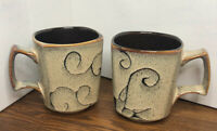 UNUSED~RARE*Roscher MUG Olivia SQUARED ABSTRACT SCROLL COFFEE CUP Tea Stoneware