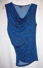 NEW NINE WEST Royal Blue Black Animal Print Ruched Draped-neck Sleeveless Top S