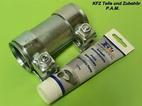 Auspuffschelle 46/50,5x90 mm Rohrverbinder Schelle Doppelschelle Montagepaste,