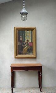 Antique Oil Painting on Board in Original Antique Deep Set Frame