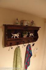 "35"" Handcrafted Wooden Coat Rack, Key Hooks Entry Shelf, Jacobean, other models"