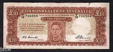 Australia R-60. (1949) 10 Pounds - Coombs/Watt.. George VI Portrait.. aVF