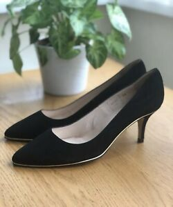 Jones Bootmaker Black Suede Leather Court Shoes Size 5 38 Pointy Low Heel Formal