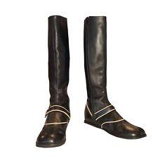 JOHN FLUEVOG In the Money Tall Leather Suede  Boots 7.5/38 Black Cream Trim Rare