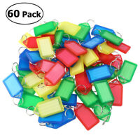 60Pcs Plastic Key Ring Luggage ID Tag Label Suitcase Bag Keychain Fobs Name Card