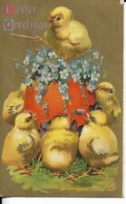 easter postcard baby chicks and pink egg early 1900s