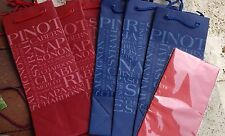 6-DELUXE WINE GIFT BAGS W/TAGS~Red Blue ALL OCCASION GIFT GIVING W/ tags Tissue