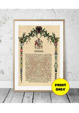 Surname Family Name Meaning Origin Print with Coat of Arms A4 Size