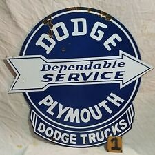 DODGE DEPENDABLE SERVICE Advertising Porcelain Enamel Sign 2-Sided 29X28 Inches