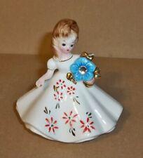 Josef Original, Girl Holding A Blue Flower-W-Rhinestone.