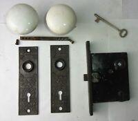 Antique Set EASTLAKE Backplates White Porcelain Door Knobs Mortise Lock w/ Key