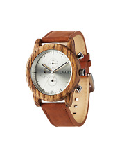 Laimer Wood Watch Mens Chronograph Paul 0059 from Zebrano Leather Wrist Band