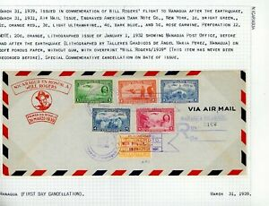 Nicaragua Will Rogers Cover LOT #29 1939 REG FDC w/Private OVPT on EARTHQUAKE #1