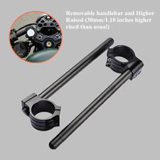 50mm Black Higher Raised Riser Clip Ons Clipon Fork Handle Bars Handlebar Strong