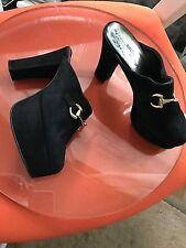 Immaculée Sacha vintage Mules Plateforme Noir Talon Haut Chaussures En Daim Bloc 38 UK5
