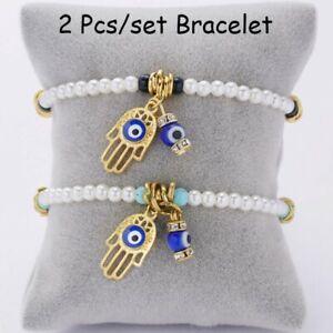 2 Pcs/Set Evil Eye Blue Pearl Bracelet Rope Adjustable Bangle Jewelry Lucky Gift