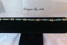 Silver Plated Multi-Coloured Costume Anklets