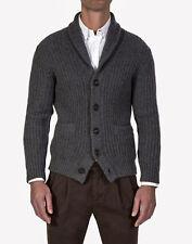 $2585 BRUNELLO CUCINELLI Gray Thick Rib 12 Ply Cashmere Cardigan Sweater 56 EU