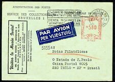 BELGIUM BRUSSELS 12/14/54 POSTAL MUSEUM CARD TO SAO PAULO BRAZIL AS SHOWN
