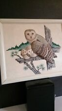 Puffy Barn Owl & Owlets Vntg Framed Fabric Artwork Quirky Comforting & Rustic