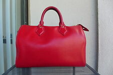 Authentic Louis Vuitton Speedy 30 Red Leather Handbag