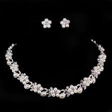 Elegant Pearl Little Flower Crystal Wedding Party Prom Necklace Earrings Set