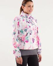 LULULEMON Blurred Blossoms White Print Travel to Track Zip Jacket Size 10 RARE