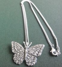 pewter pendant, butterfly design, hand made, with surgical steel chain