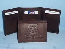 ARIZONA WILDCATS   Leather TriFold Wallet    NEW    dkbr 3  m1