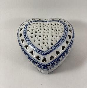 "Blue & White Pierced (Filigree) Ceramic Heart Shaped Trinket Box 4.5"" x 4"" x 2"""