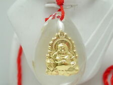 24k Yellow Gold & Genuine Hand Carved Jade/Jadeite Buddah Red Thread Necklace