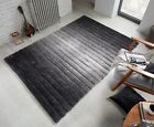 VERGE OMBRE HAND CARVED STRIPED SOFT THICK SHAGGY GREY BLACK RUG VARIOUS SIZES