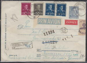ROMANIA REGISTER COVER 1943 SEND AIR EXPRES to BOHEMIA with NAZI CENSORSHIP !!