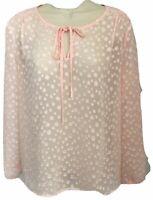 J Crew Top XS Sheer Pink Keyhole Long Sleeve Polka Dot  Blush L/S Tunic High Low