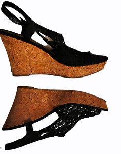 Fergalicious by Fergie wine cork wedge mesh sandals size 40EUR