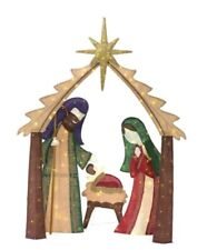 Home Accents Holiday 6FT LED Lighted Burlap Nativity Scene