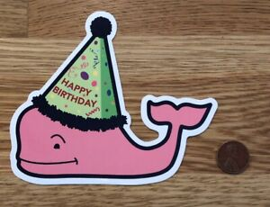 NEW Vineyard VINES Pink BIRTHDAY Party HAT Whale STICKER Laptop DECAL Rare