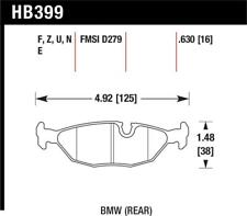 Hawk 84-4/91 for BMW 325 (E30)Blue 9012 Rear Race Pads (NOT FOR STREET USE) - ha