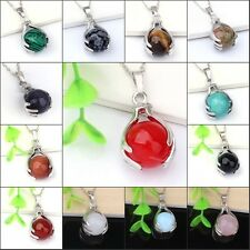 Silver Plated Hand Round Ball Gemstone Beads Hand-Holding Stone Pendant Necklace