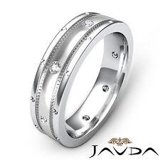 Diamond Mens Eternity Wedding Band 14k White Gold Matt Finish Solid Ring 0.16Ct