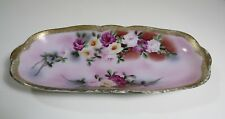 I.E. & C. Co Moriage Celery Dish w/ Hand Painted Flowers and Gold Rim