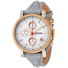 FOSSIL CHRONOGRAPH DATE WHITE DIAL GRAY LEATHER STRAP LADIES WATCH ES4045 NEW