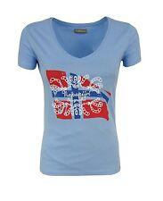 NAPAPIJRI Damen,Women,Donna,T-Shirt,Maglia,V-Ausschnitt,NEU,XS,S,M,L,XL,Blau,-%%