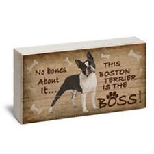 """BOSTON TERRIER IS BOSS - Made in USA Reclaimed Wood Pine 12"""" x 6""""  Box Sign NEW"""